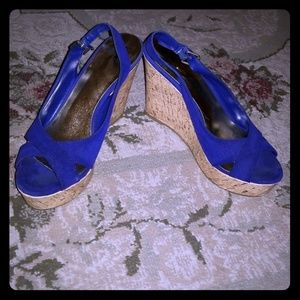 Mossimo Blue Suede Peep Toe Wedges